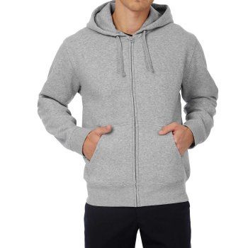 B&C Hooded Full Zip Sweat / Men Heather Grey  L
