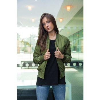 Build Your Brand Ladies` Nylon Bomber Jacket