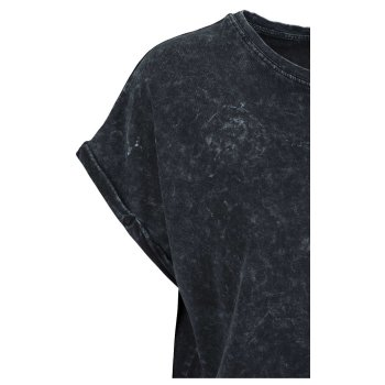 Build Your Brand Ladies` Acid Washed Extended Shoulder Tee